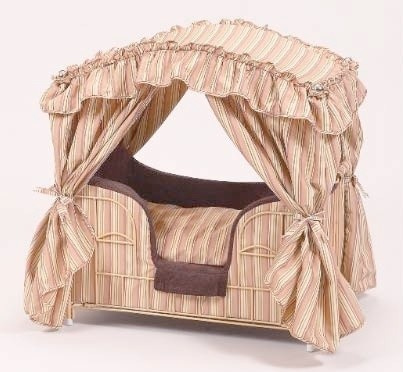 Rust & Brown Stripes Lazy Paws Designer Canopy Pet Bed