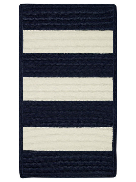 Cabana Stripes rug in Navy White - Cabana Stripes is a Capel braided outdoor rug in an easy to use, natural color palette. This Capel Anywhere™ rug works well with today's outdoor fashion fabrics.