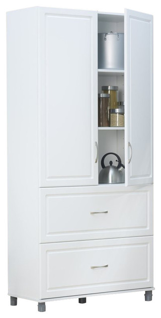 """SystemBuild 36"""" 2 Drawer 2 Door Cabinet in White Aquaseal - Transitional - Storage Cabinets - by ..."""