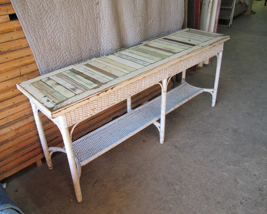 Examples of available inventory - bryan appleton, Console made from vintage wicker console with top of colorful repurposed wood strips