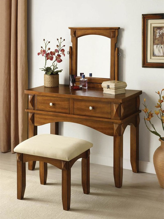 ACME Furniture - Oak Makeup Vanity Table Set - The Aldora rustic oak vanity table set will be a great addition to your bedroom or dressing area. The medium scaled makeup vanity offers a spacious table top, two storage drawers and swivel mirror. Finished in rustic oak finish, this vanity table features satin finish drawer pulls, square table legs and curved table trim.