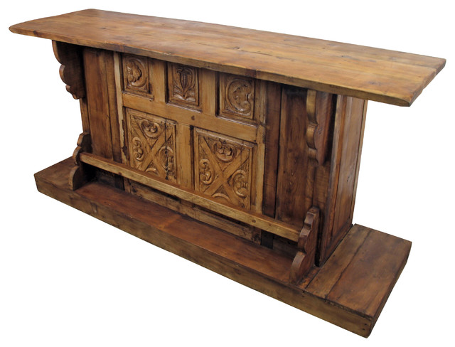 Old Wood Carved Panel Bar Set Rustic Indoor Pub And Bistro Tables Phoenix By Direct From