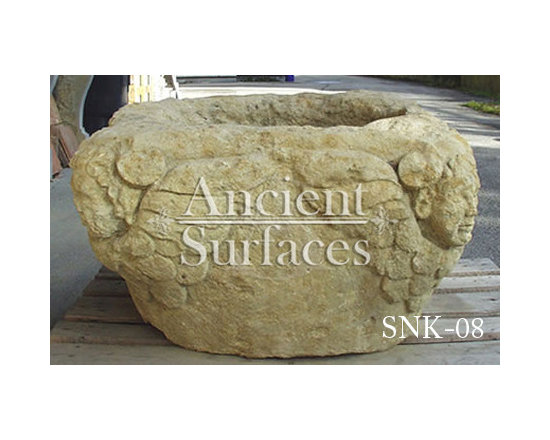 Antique Limestone Stone Sinks - Those are the crème de la crème of ancient marble and stone sinks. Their composition, textures and subject are unique. If you want to own a fine sink that is both functional and art historic for your master bath, powder or kitchen look no further.