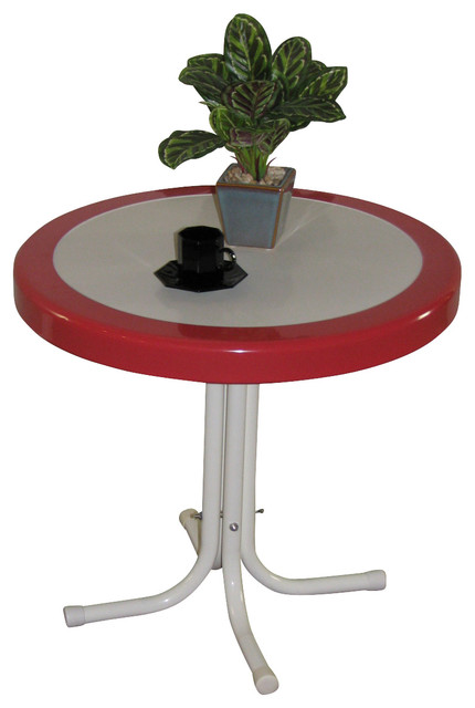 4D Concepts Metal Retro Round Table in Red Coral and White Metal modern-coffee-tables