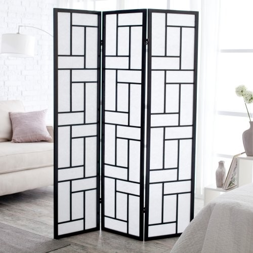 Oki Black Shoji 3 Panel Room Divider contemporary screens and wall dividers