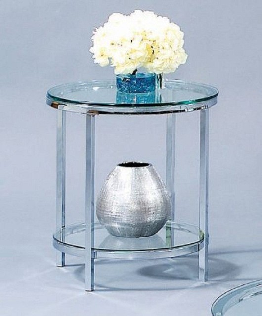 Bassett Mirror - Patinoire Round End Table - T1792-220 traditional-coffee-tables