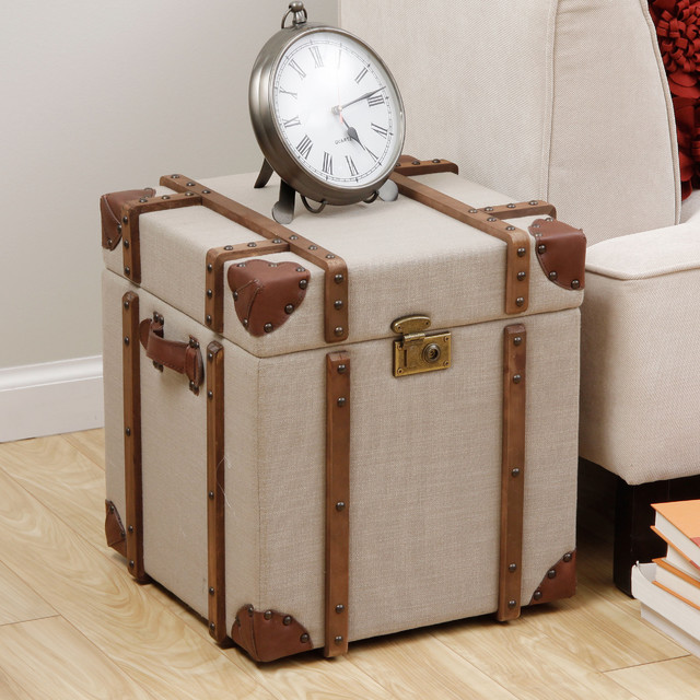 Journey Beige Linen Trunk Side Table contemporary-side-tables-and-end-tables