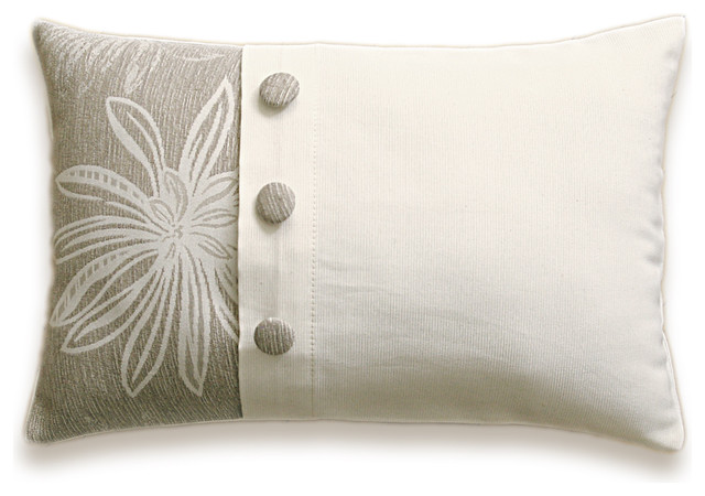 Cream Beige Floral Decorative Lumbar Pillow Cover 12x18 in Fabric Button LAYLA D  pillows