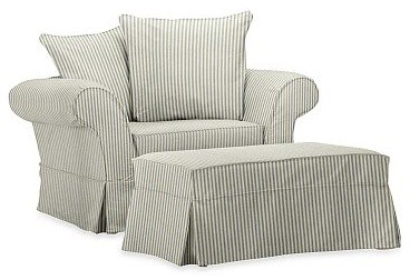 Charleston Ottoman Slipcover Ticking Stripe Harbor Blue Traditional Slipcovers And Chair Covers By Pottery Barn