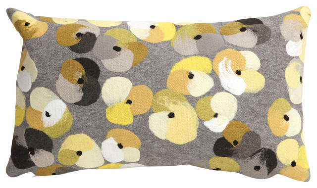 "Pansy Grey 12"" x 20"" Indoor Outdoor Pillow contemporary-outdoor-cushions-and-pillows"
