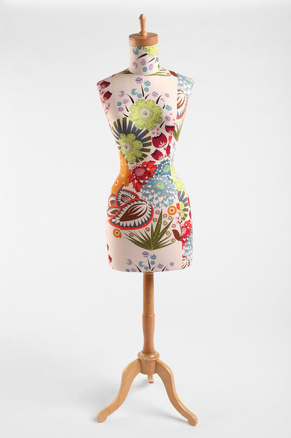 Floral Wood Base Dress Form eclectic-accessories-and-decor
