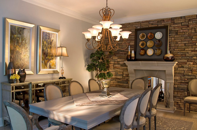 Dining Room Glam wtih Gray traditional-dining-room