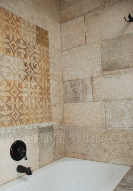 Antique Bathrooms Shower Walls And Decorative Carved Tiles Mediterranean Los Angeles By