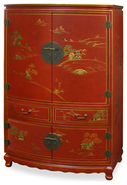Chinoiserie Scenery Design Tv Armoire Asian Storage