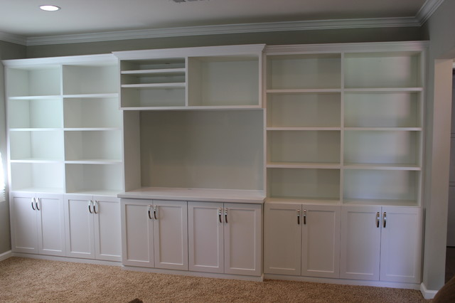 Family Room Wall Unit In White Traditional Los Angeles