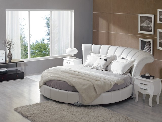 Stylish leather modern contemporary bedroom designs with for Round bed design