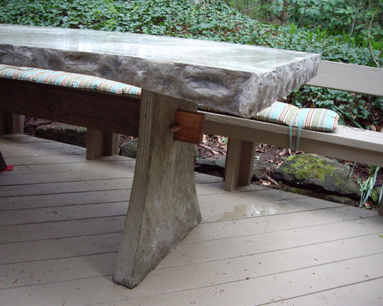 """Deck Table - Table is custom concrete measuring 77"""" long, 41"""" wide, and 29 1/2"""" high.  Can be manufactured in custom lengths, colors and finishes."""
