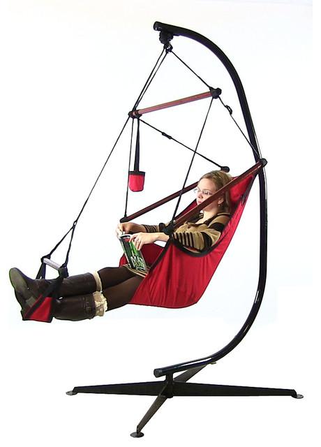 Sunnydaze hanging hammock chair w pillow drink holder amp stand combo