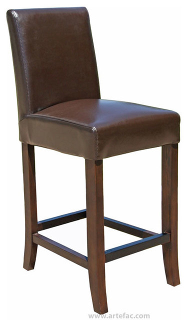 Leather Counter Stool 26 Quot Seat Height Brown
