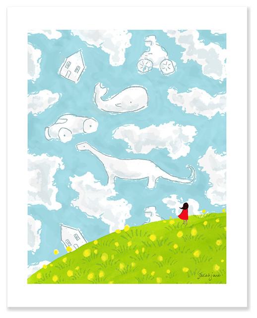 "Cloud Gazing, 16""x20"" contemporary-kids-decor"