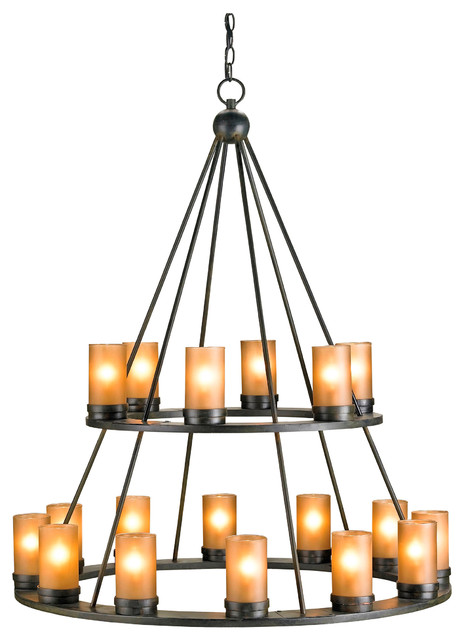 Black Wrought Iron Tiered 18 Light Candle Chandelier