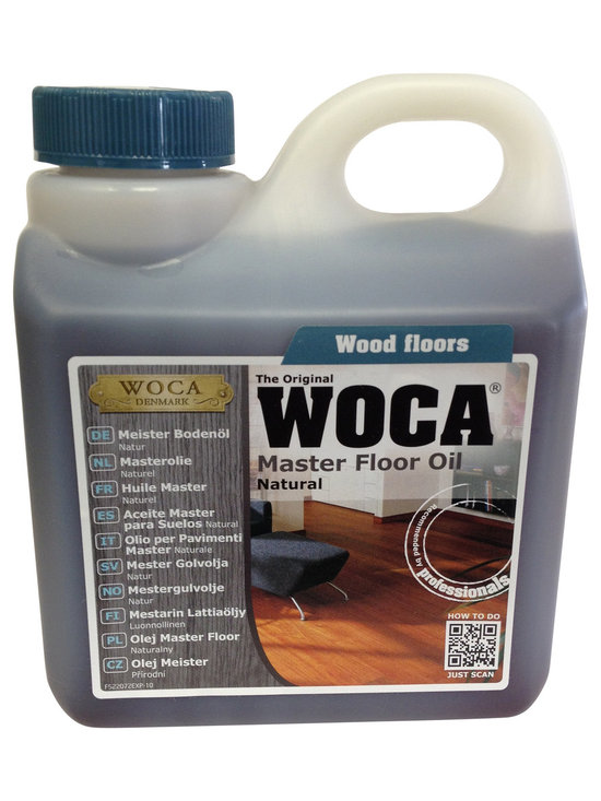 Woca DenMark - WOCA Master Floor Oil 1 Liter, Natural - WOCA Master Oil - Natural (Formerly Trip Trap) may be used on all unfininshed, freshly sanded and newly laid wood floors in all wood species. To be used on untreated and lye primed wood such as interior wood floors, wood stairs, wood panels, and wood furniture. The WOCA Master Oil has excellent penetration properties and therefore ensures a hard-wearing, dirt and water resistant surface. The WOCA Master Oil Natural is mainly used on dark wood species and enhances the natural warm glow of the wood whereas light wood species are often finished with WOCA Master Oil White which maintains and protects the natural light color.