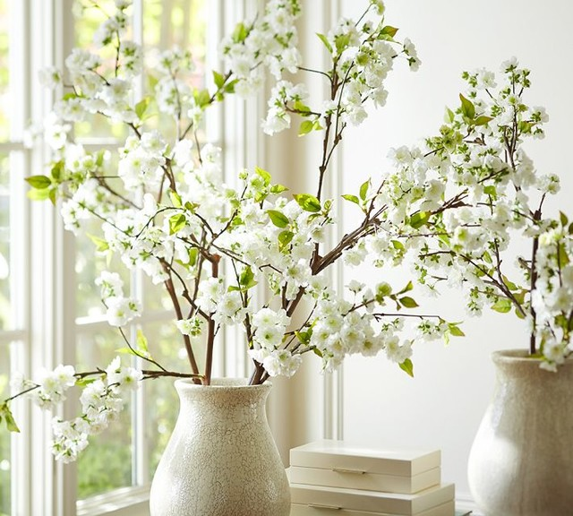 Faux Oversize Cherry Blossom Branch - Traditional - Artificial Flowers Plants And Trees ...