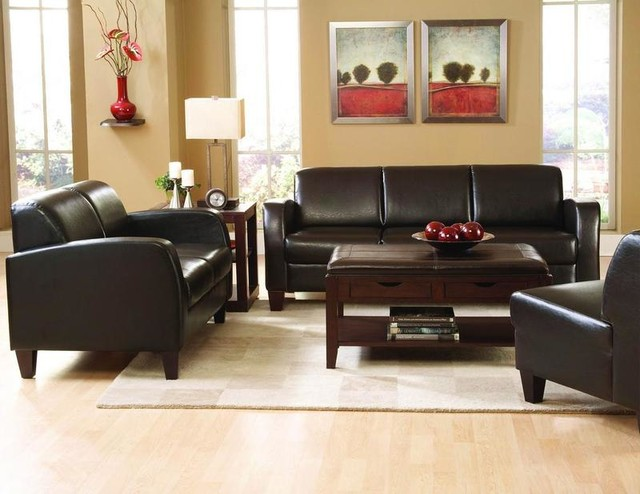 dark brown leather sofa couch loveseat arm chair living