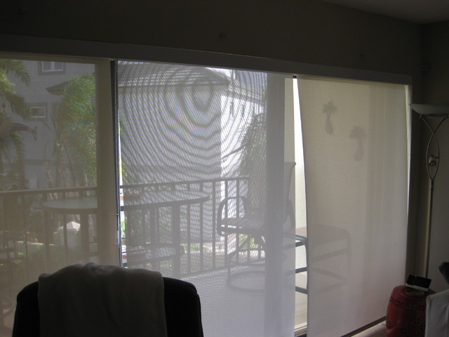 Three Solar Shades on Sliding Glass Door With Continous Valance - Beach Style - tampa - by ...