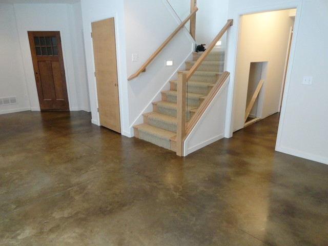 Stained concrete basement floor traditional basement indianapolis by dancer concrete design - Cement basement floor ideas ...