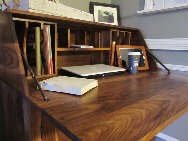 Black Walnut Drop Front Secretary Desk - Traditional ...