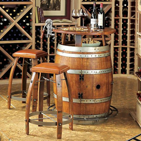 Vintage Oak Wine Barrel Bistro Table Amp Bar Stools