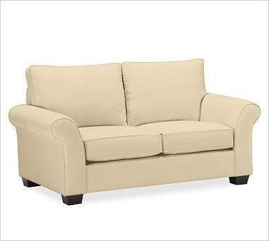 PB Comfort Roll Arm Upholstered Loveseat, Knife-Edge Cushion, Down-Blend Wrap Cu traditional-decorative-pillows