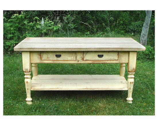 """Islands - 6'x3' Kitchen Island: 2"""" thick maple top, Cream base two drawers & a shelf"""