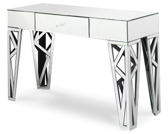 Zuri Furniture - Azure Mirrored Clear Glass Console Table - A design that speaks ultra high-end, the Azure collection is both substantial in size and presence. Elegant mirrored details give this console table a sophisticated Hollywood regency look while providing a hidden drawer for extra storage space. Azure's mirrored reflection is ideal for complementing a contemporary area rug or hardwood floors. Pair with other items in this collection to complete the look!