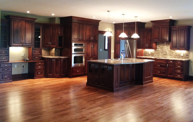 Large open concept Cherry kitchen - traditional - kitchen cabinets