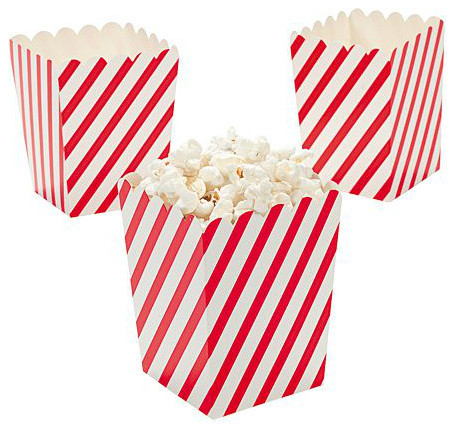 Mini Striped Popcorn Boxes, Set of 24 traditional serveware