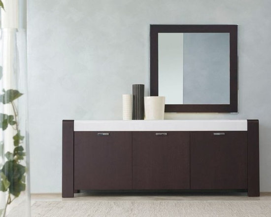 Lira Sideboard - Sideboard with wooden doors. Option with wooden drawers. Solid wooden frame. Curved extralight painted glass, lighting under the glass top . Clear tempered glass inside shelves.