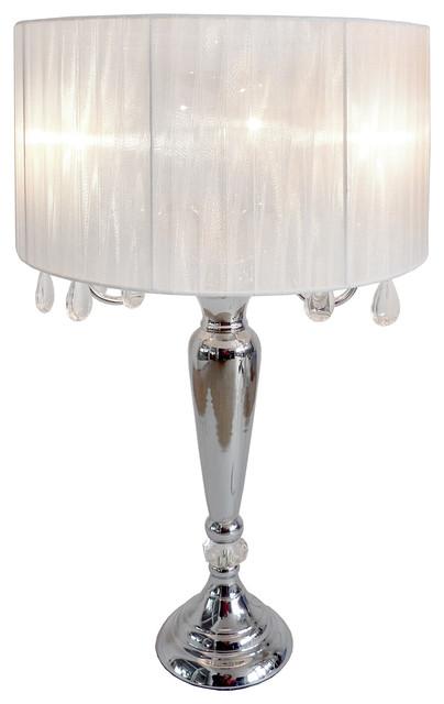 LT1034 Elegant Designs Romantic Sheer Shade Lamp Hanging Crystals, White modern-table-lamps