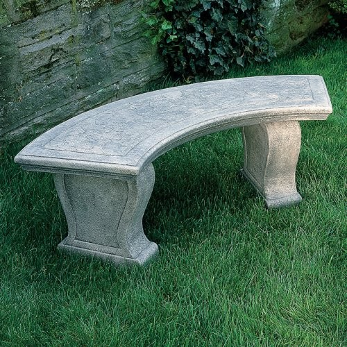 Campania International Curved Leaf Cast Stone Backless Garden Bench Traditional Outdoor
