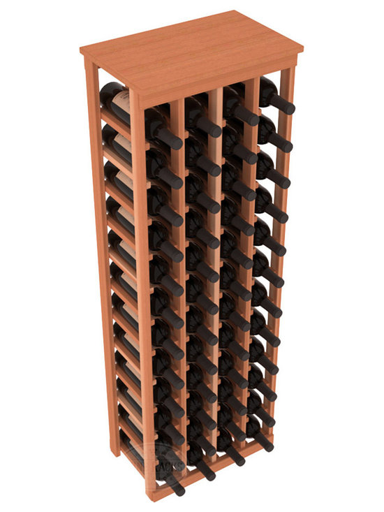 """48 Bottle Kitchen Wine Rack in Redwood - Store 4 complete cases of wine in less than 20"""" of wall space. Just over 4 feet tall, this narrow wine rack fits perfectly in hallways, closets and other """"catch-all"""" spaces in your home or den. The solid wood top serves as a shelf or table top for added convenience and storage of nick-nacks."""