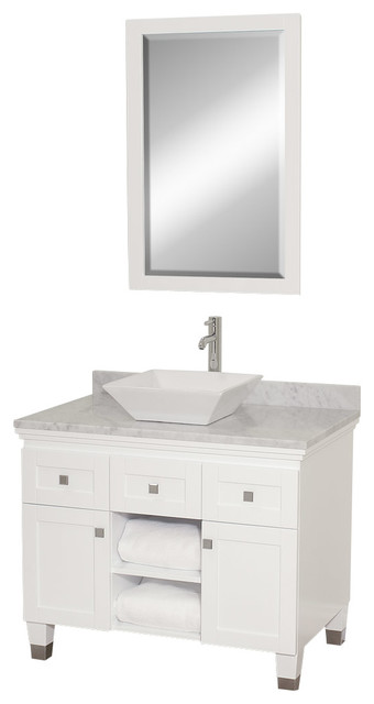Wyndham Collection Premiere' White 36-inch Solid Oak Single Bathroom Vanity contemporary-bathroom-vanities-and-sink-consoles