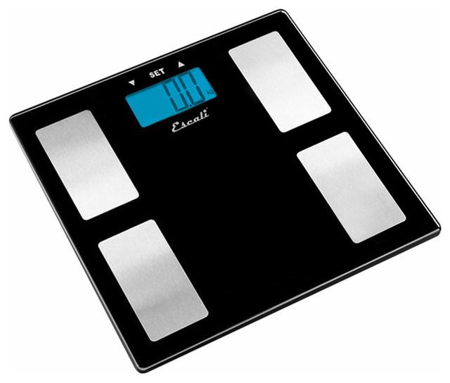 Escali Black Glass Health Monitor Scale modern-bath-products