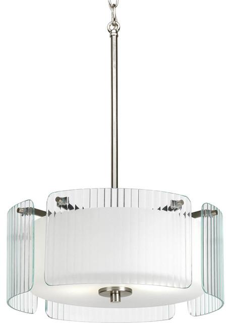 Progress Lighting P3979-09 2-Light Pendant with Clear Ribbed Glass contemporary-pendant-lighting