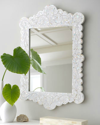 Scalloped Mother-of-Pearl Inlay Mirror mirrors