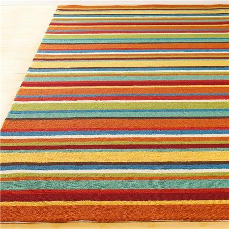 indoor outdoor colorful stripe hooked rug
