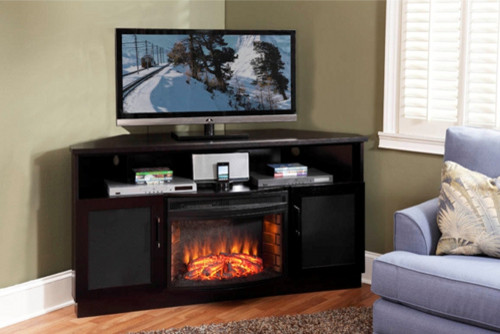 aragon corner electric fireplace entertainment center in