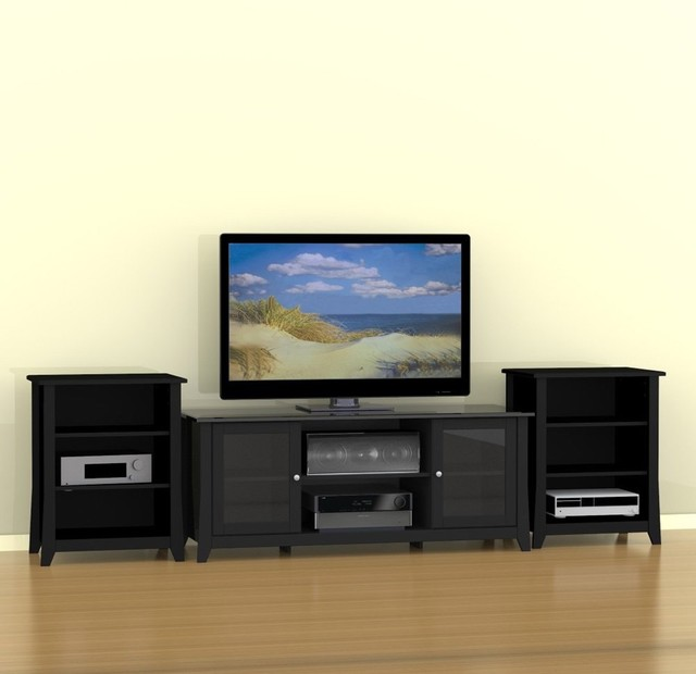 Megalak Finition Tuxedo 58 in. TV Console with Stereo Cabinets - Black ...