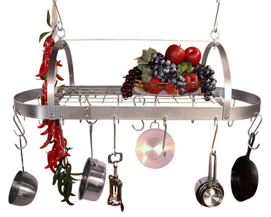 """HSM - 30 Inch Oval Hanging Stainless Steel Pot Rack With Grid - Dimensions: 30""""W x 12-1/4""""D x 9-1/2""""H"""