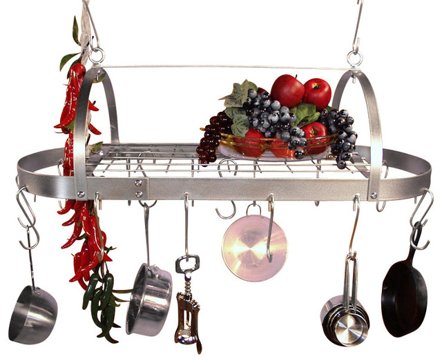 30 Inch Oval Hanging Stainless Steel Pot Rack With Grid